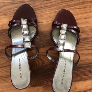 Burgundy leather dressy sandals